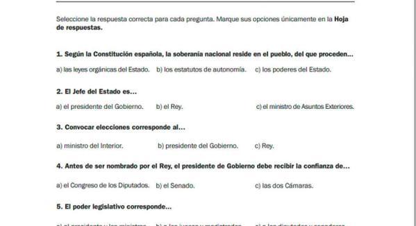 Examen Para La Obtención De La Nacionalidad Española
